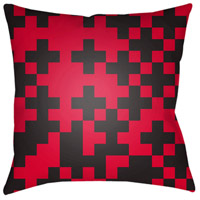 Scandanavian 18 X 18 inch Black and Bright Red Outdoor Throw Pillow