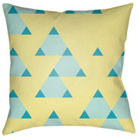Scandanavian 18 X 18 inch Yellow and Blue Outdoor Throw Pillow