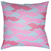Scandanavian 18 X 18 inch Bright Pink and Aqua Outdoor Throw Pillow