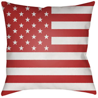 Americana 20 X 20 inch Red and White Outdoor Throw Pillow