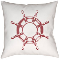 Nautical II 20 X 20 inch Red and White Outdoor Throw Pillow