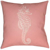 Seahorse 20 X 20 inch Pink and Neutral Outdoor Throw Pillow