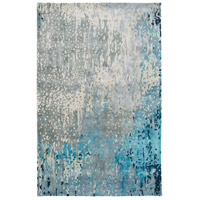 Serenade 96 X 60 inch Blue and Green Area Rug, Viscose and Wool