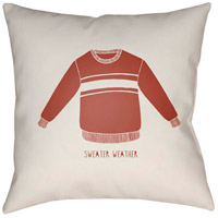 Sweater Weather 20 X 20 inch White and Red Outdoor Throw Pillow