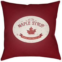Maple Syrup 20 X 20 inch Red and White Outdoor Throw Pillow