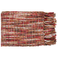 Tabitha 60 X 50 inch Red and Tan Throw