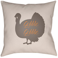 Turkey 20 X 20 inch White and Brown Outdoor Throw Pillow