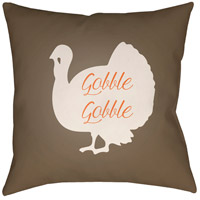 Turkey 20 X 20 inch Brown and White Outdoor Throw Pillow