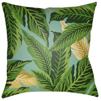 Tropical 18 X 18 inch Dark Green and Lime Outdoor Throw Pillow