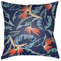 Tropical 18 X 18 inch Aqua and Navy Outdoor Throw Pillow