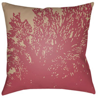 Textures 20 X 20 inch Fuschia and Taupe Outdoor Throw Pillow