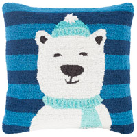 Surya WIT001-1818P Winter Navy and Blue Holiday Throw Pillow
