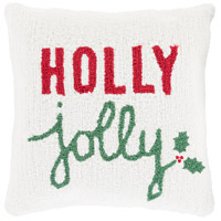 Winter White and Red Holiday Throw Pillow
