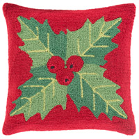 Surya WIT005-1818D Winter Red and Red Holiday Throw Pillow