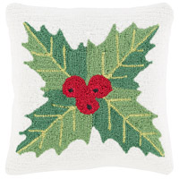 Surya WIT006-1818P Winter White and Red Holiday Throw Pillow