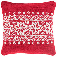 Surya WIT010-1818D Winter Red and White Holiday Throw Pillow