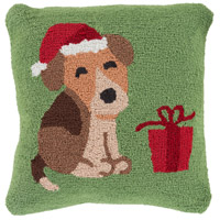 Winter Green and Red Holiday Throw Pillow