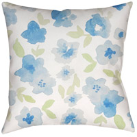 Surya WMOM001-2020 Flowers 20 X 20 inch Neutral and Blue Outdoor Throw Pillow photo thumbnail