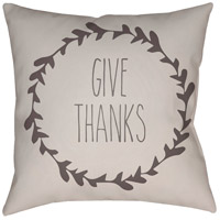 Wreath 20 X 20 inch White and Brown Outdoor Throw Pillow