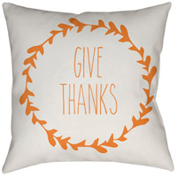 Wreath 20 X 20 inch White and Orange Outdoor Throw Pillow