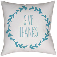 Wreath 20 X 20 inch White and Blue Outdoor Throw Pillow