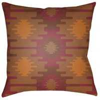Yindi 18 X 18 inch Red and Tan Outdoor Throw Pillow