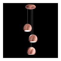 Inlay 3 Light Brushed Copper Pendant Ceiling Light