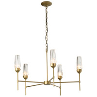 Synchronicity 105060-1008 Luma 5 Light 31 inch Gold with Crystal Chandelier Ceiling Light