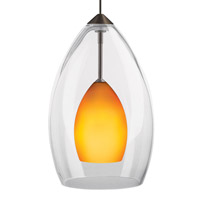 Inner Fire 1 Light 12V Antique Bronze Low-Voltage Pendant Ceiling Light in Amber, FreeJack