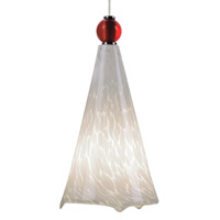 Ovation 1 Light 5 inch Satin Nickel Low-Voltage Mini Pendant Ceiling Light in White Frit, Red Ball, FreeJack, Halogen