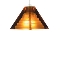 Pyramid 1 Light 4 inch Satin Nickel Low-Voltage Pendant Ceiling Light in Amber, Kable Lite