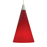 Cone 1 Light 4 inch Satin Nickel Pendant Ceiling Light in Red, Monopoint, Halogen