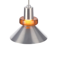 Hanging Wok 1 Light 3 inch Satin Nickel Pendant Ceiling Light in Amber, Monopoint