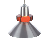 Hanging Wok 1 Light 3 inch Chrome Pendant Ceiling Light in Red, Monopoint