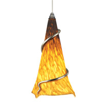 Ovation 1 Light 7 inch Satin Nickel Pendant Ceiling Light in Tahoe Pine Amber, No Ball, Monopoint, Incandescent