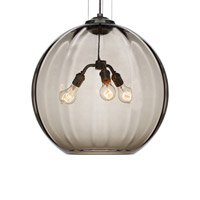 World 3 Light 21 inch Black Pendant Ceiling Light in Smoke