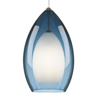 Fire 1 Light 8 inch Satin Nickel Line-Voltage Pendant Ceiling Light in Steel Blue, Single-Circuit T-TRAK, Fluorescent