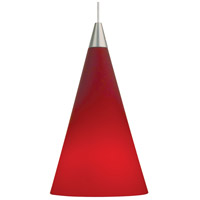 Cone LED 4 inch Satin Nickel Low-Voltage Pendant Ceiling Light in Red, MonoRail