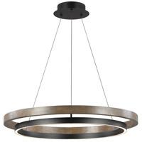 Tech Lighting 700GRC36BW-LED930 Grace LED 36 inch Matte Black / Weathered Oak Wood Chandelier Ceiling Light