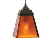 Mission LED 4 inch Antique Bronze Mini Pendant Ceiling Light in Amber
