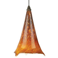 Ovation 1 Light 5 inch Satin Nickel Low-Voltage Mini Pendant Ceiling Light in Tahoe Pine Amber, Amber Ball, FreeJack, Halogen