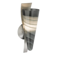 Nebbia 1 Light Satin Nickel Wall Sconce Wall Light in Smoke, Incandescent