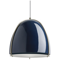 Paravo 1 Light 15 inch Blue and Satin Nickel Pendant Ceiling Light