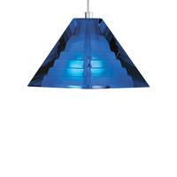 Pyramid 1 Light 4 inch Satin Nickel Low-Voltage Pendant Ceiling Light in Cobalt, FreeJack