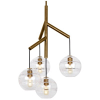 Tech Lighting 700SDNMPR1CR Sedona 25 inch Aged Brass Chandelier Ceiling Light in Clear