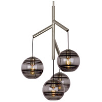 Sedona 25 inch Satin Nickel Chandelier Ceiling Light in Transparent Smoke