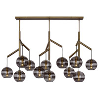 Tech Lighting 700SDNMPL3KR Sedona 25 inch Aged Brass Triple Chandelier Ceiling Light in Transparent Smoke