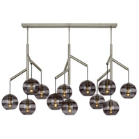 Tech Lighting 700SDNMPL3KS Sedona 25 inch Satin Nickel Triple Chandelier Ceiling Light in Transparent Smoke