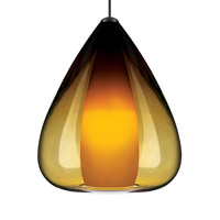 Soleil 1 Light 6 inch Satin Nickel Pendant Ceiling Light in Amber, Monopoint