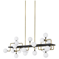 Viaggio LED 56 inch Black and Brass Linear Suspension Ceiling Light in Opal
